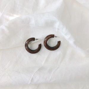 Anthropologie Thick Wood Hoop Earrings • NEW
